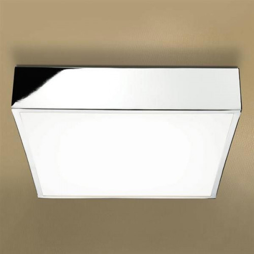 Inertia LED Illuminated Square Ceiling Light with Chrome Detail & Diffused Shade