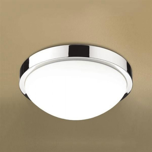 Momentum LED Illuminated Round Ceiling Light with Chrome Detail & Diffused Shade