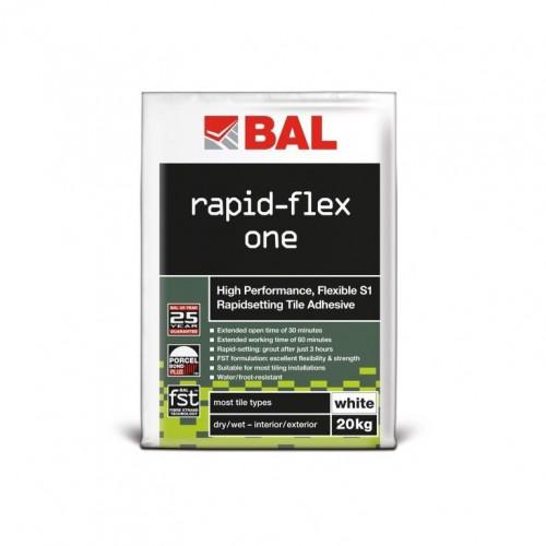 BAL Rapid-Flex One Flexible S1 Rapid Setting Tile Adhesive - White 20kg