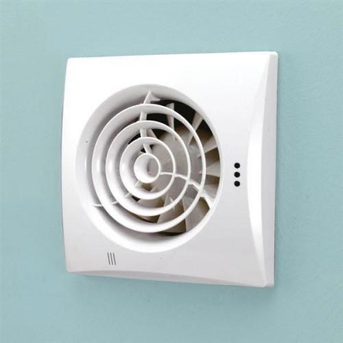 Hush White Wall Mounted Bathroom Fan with Timer & Humidity Sensor