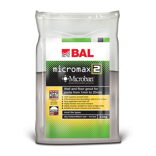 BAL Micromax2 Floor & Wall Grout - Taupe Grey 2.5KG