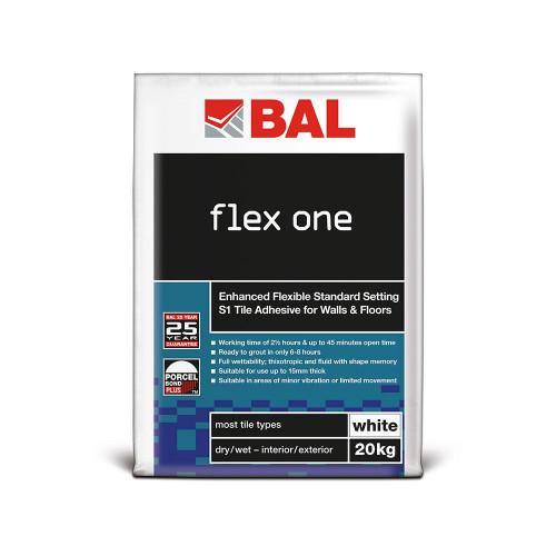 BAL Flex One Tile Adhesive For Walls & Floors - White 20kg