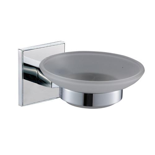 Saturn Chrome Glass Soap Dish & Holder