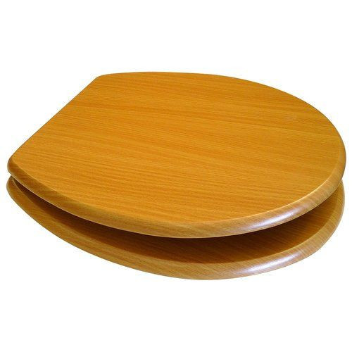 MDF Beech Wood Toilet Seat with Chrome Plated Hinges