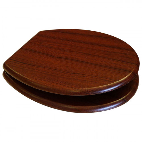 MDF Walnut Wood Toilet Seat with Chrome Plated Hinges