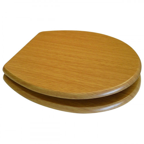 MDF Oak Wood Toilet Seat with Chrome Plated Hinges