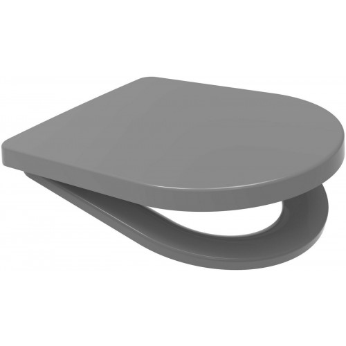 Rainbow Middle D STYLE Anti-Bacterial Soft Close Quick Release Toilet Seat - Grey