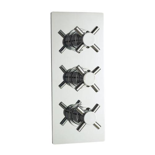 Acel Crosshead Chrome Triple Thermostatic Concealed Shower Valve (TMV2)