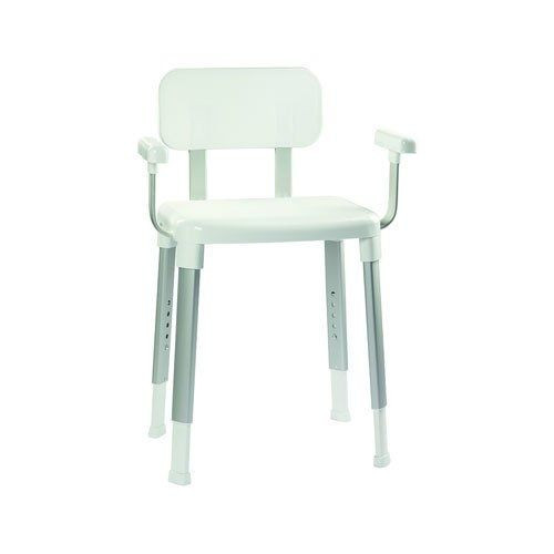 Modular Shower Seat with Arms - White