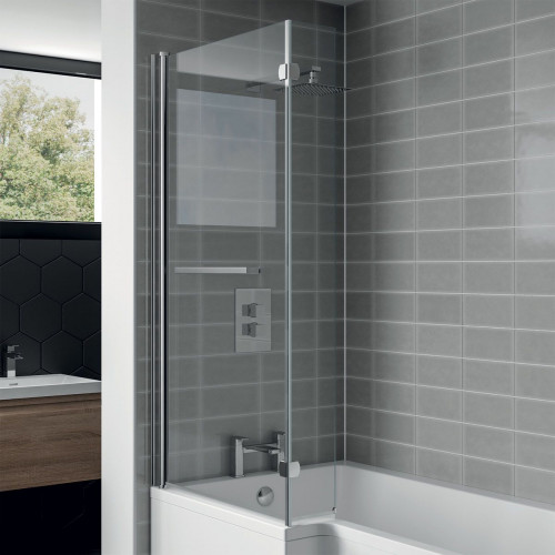 L-Shape Shower Bath Screen With Towel Rail (Hinged At Wall Only)