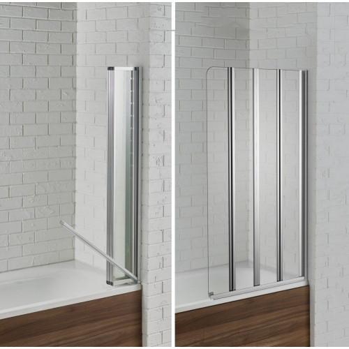 Aquadart Venturi 6 Swiftseal Semi-frameless 4 Fold Bath Screen 6mm - Right Hand