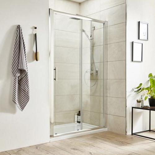 Pacific Chrome 1400mm Single Sliding Shower Door