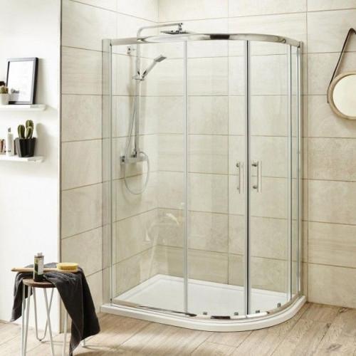 Pacific Chrome 1200mm x 900mm Offset Quadrant Shower Enclosure - Enclosure Only