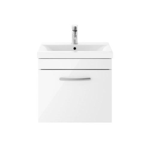 Athena White Gloss 500mm Wall Hung Single Drawer Cabinet & Mid-Edge Basin