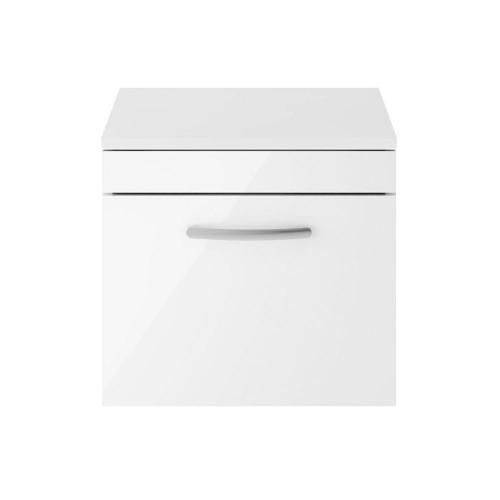 Athena White Gloss 500mm Wall Hung Single Drawer Cabinet & Worktop