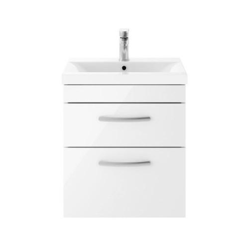 Athena White Gloss 500mm Wall Hung 2 Drawer Cabinet & Minimalist Basin
