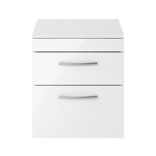 Athena White Gloss 500mm Wall Hung 2 Drawer Cabinet & Worktop
