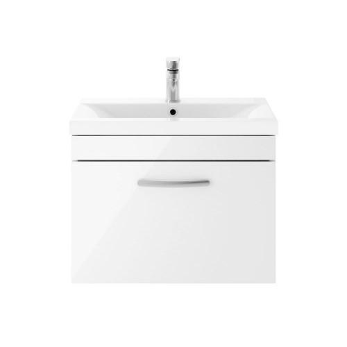 Athena White Gloss 600mm Wall Hung Single Drawer Cabinet & Mid-Edge Basin