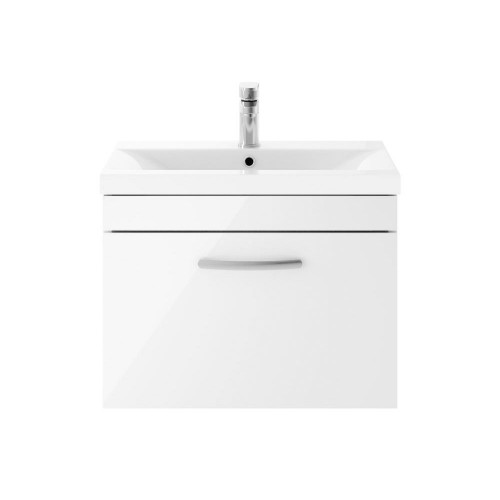 Athena White Gloss 600mm Wall Hung Single Drawer Cabinet & Minimalist Basin