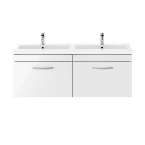 Athena White Gloss 1200mm Wall Hung 2 Drawer Cabinet & Double Basin