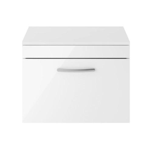 Athena White Gloss 600mm Wall Hung Single Drawer Cabinet & Worktop