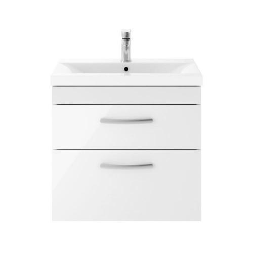 Athena White Gloss 600mm Wall Hung 2 Drawer Cabinet & Minimalist Basin