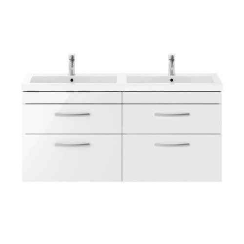 Athena White Gloss 1200mm Wall Hung 4 Drawer Cabinet & Double Basin