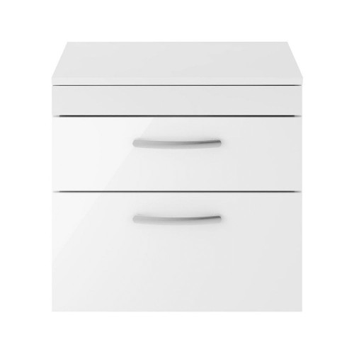Athena White Gloss 600mm Wall Hung 2 Drawer Cabinet & Worktop