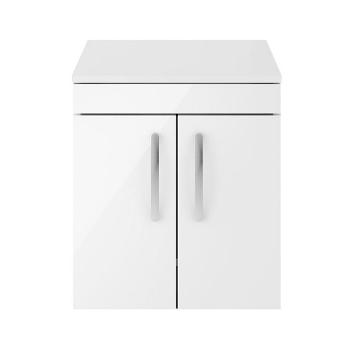 Athena White Gloss 500mm Wall Hung 2 Door Cabinet & Worktop