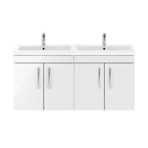 Athena White Gloss 1200mm Wall Hung 4 Door Cabinet & Double Basin