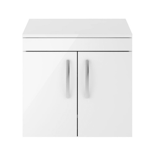 Athena White Gloss 600mm Wall Hung 2 Door Cabinet & Worktop