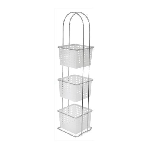 3 Tier Storage Rack & Baskets - White & Chrome