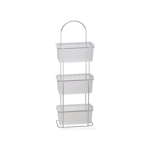 3 Tier Standing Caddy & Plastic Baskets - White & Chrome