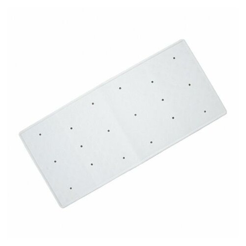 Rubber Extra Long Bath Mat - White 370mm x 900mm
