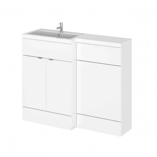 Hudson Reed Fusion White Gloss 1100mm Combination Furniture Pack - Left Hand