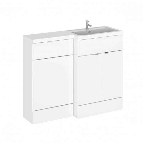 Hudson Reed Fusion White Gloss 1100mm Combination Furniture Pack - Right Hand