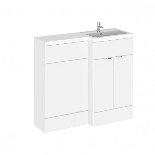 Hudson Reed Fusion White Gloss 1000mm Combination Furniture Pack - Right Hand