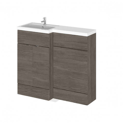 Hudson Reed Fusion Grey Avola 1000mm Combination Furniture Pack - Left Hand