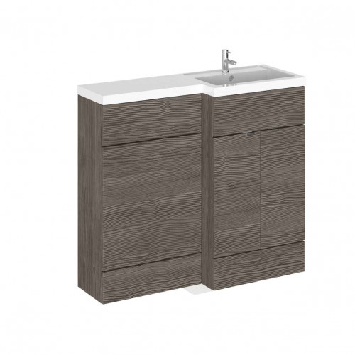 Hudson Reed Fusion Grey Avola 1000mm Combination Furniture Pack - Right Hand