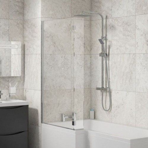 Square L-Shaped Bath Screen with Deflector Panel 6mm
