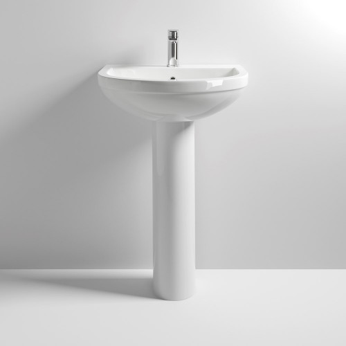 Ivo 550mm Basin & Full Pedestal - 1 Tap Hole
