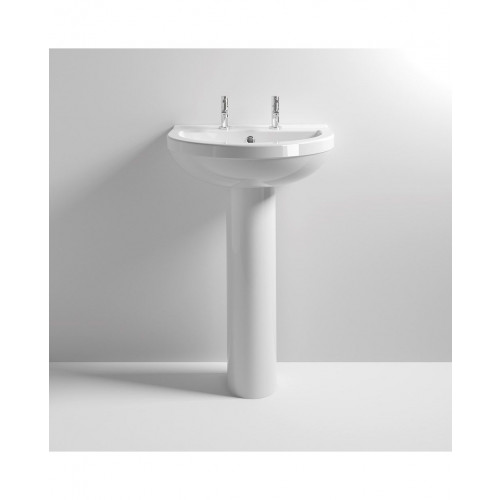 Ivo 550mm Basin & Full Pedestal - 2 Tap Hole