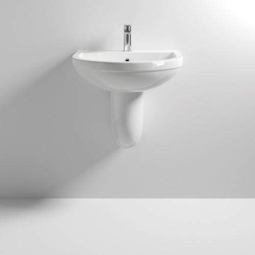 Ivo 550mm Basin & Semi Pedestal - 1 Tap Hole
