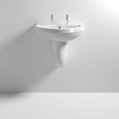 Ivo 550mm Basin & Semi Pedestal - 2 Tap Hole