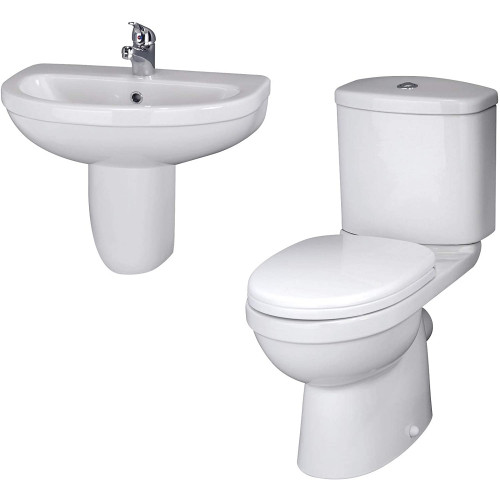 Ivo 4 Piece Toilet & Wall Hung Basin Bathroom Suite - 1 Tap Hole