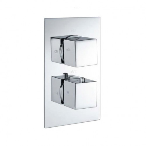 Cube Square Chrome Twin Thermostatic Concealed Shower Valve with Diverter (TMV2)