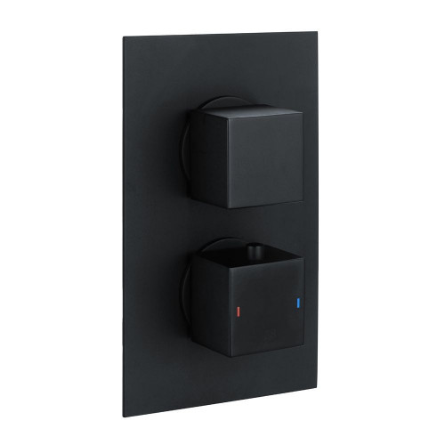 Cube Square Matt Black Twin Thermostatic Concealed Shower Valve with Diverter (TMV2)