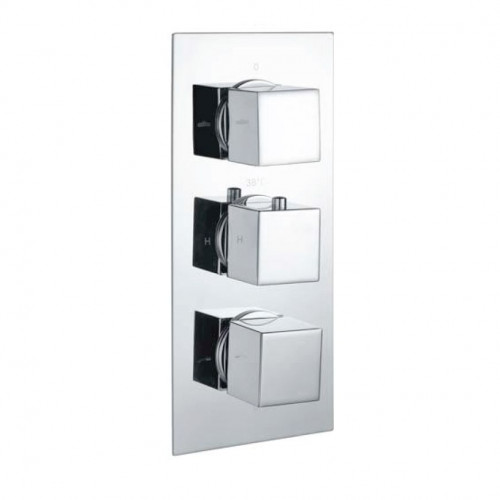 Cube Square Chrome Triple Thermostatic Concealed Shower Valve with Diverter (TMV2)