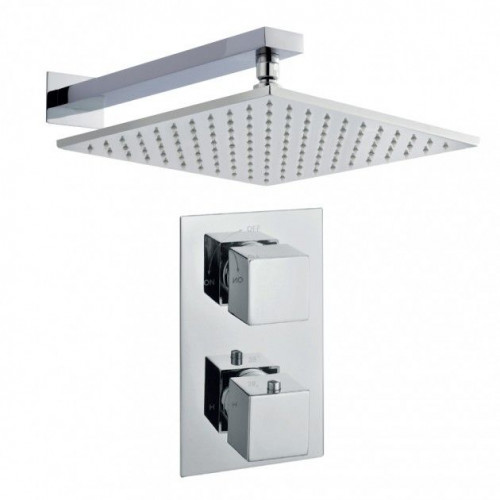 Cube Shower Bundle Inc. Twin Concealed Valve, Wall Mounted Arm & Head