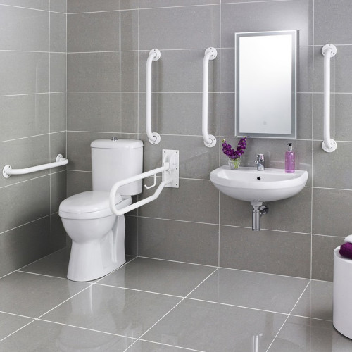 Doc M Pack - Disabled Toilet, Basin & Grab Rails - White
